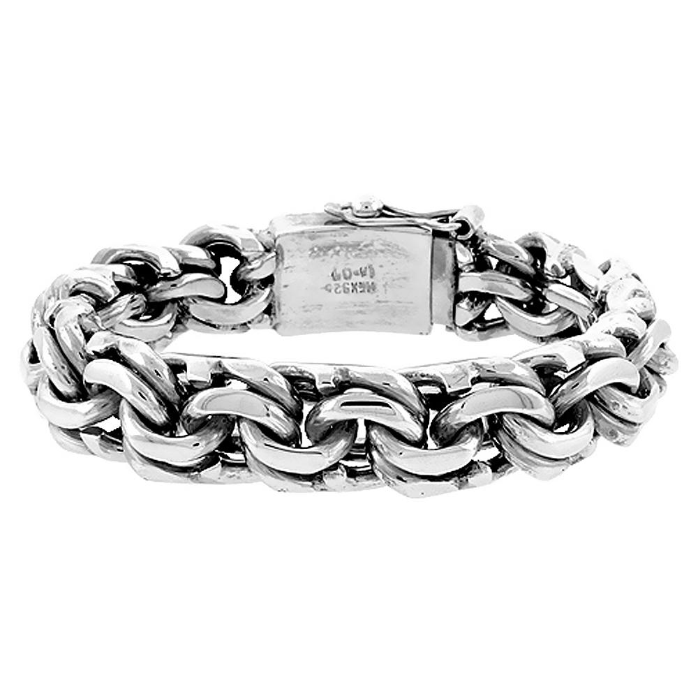 "Sabrina Silver Gent""s Sterling Silver Garibaldi Link Bracelet Handmade 1/2 inch wide, sizes 8, 8.5 & 9 inch"