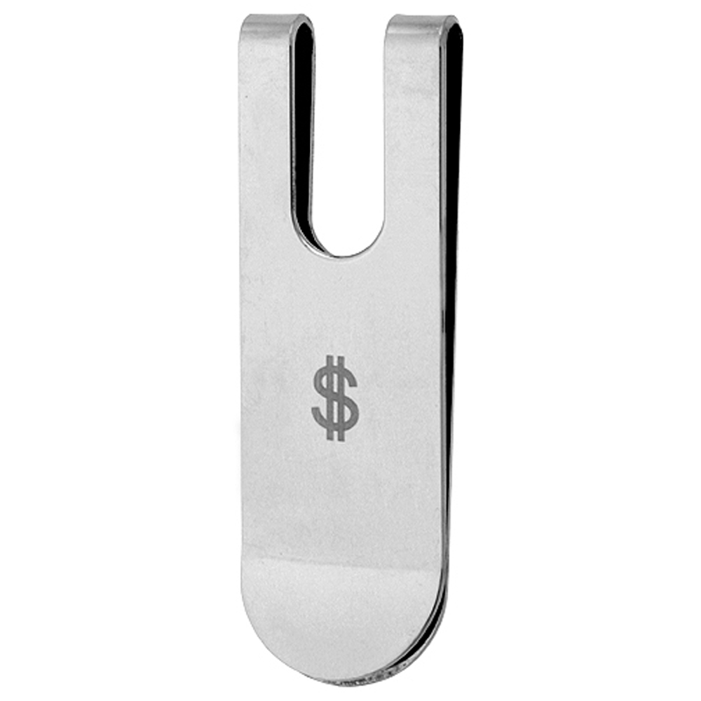 Stainless Steel Money Clip with Dollar Sign, 2 5/16 inch