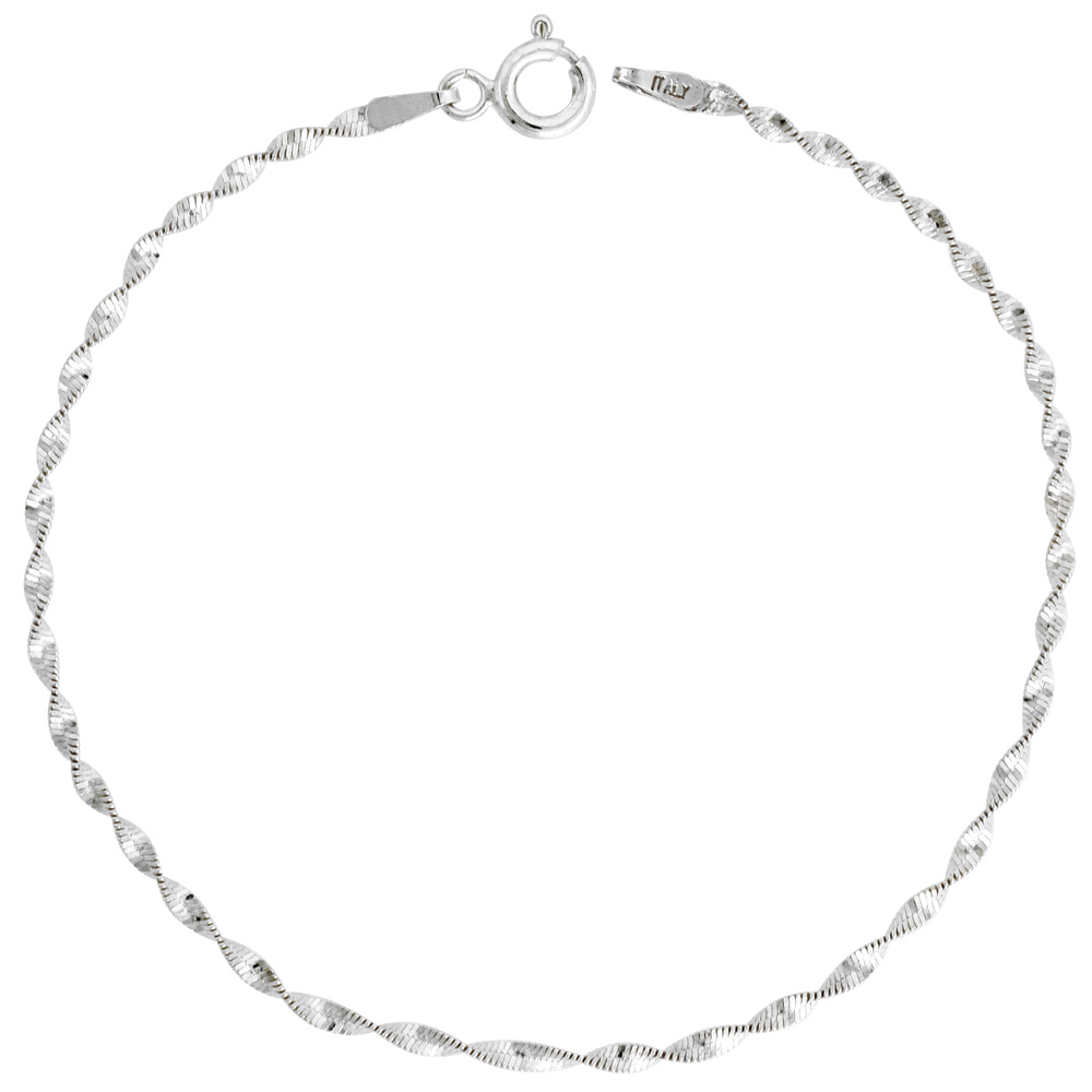 Sterling Silver Twisted Magic Herringbone Chain Necklaces & Bracelets Nickel Free 2mm, 16-20 inch lengths