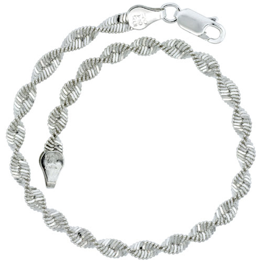 Sterling Silver Twisted Herringbone Chain Necklaces & Bracelets 5mm Nickel Free Italy, 16-30 inch