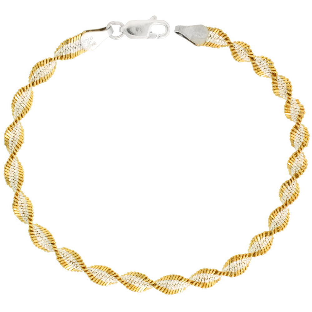 Sterling Silver Twisted Herringbone Chain Necklace Two Tone 5mm Nickel Free Italy , 16-30 inch lengths