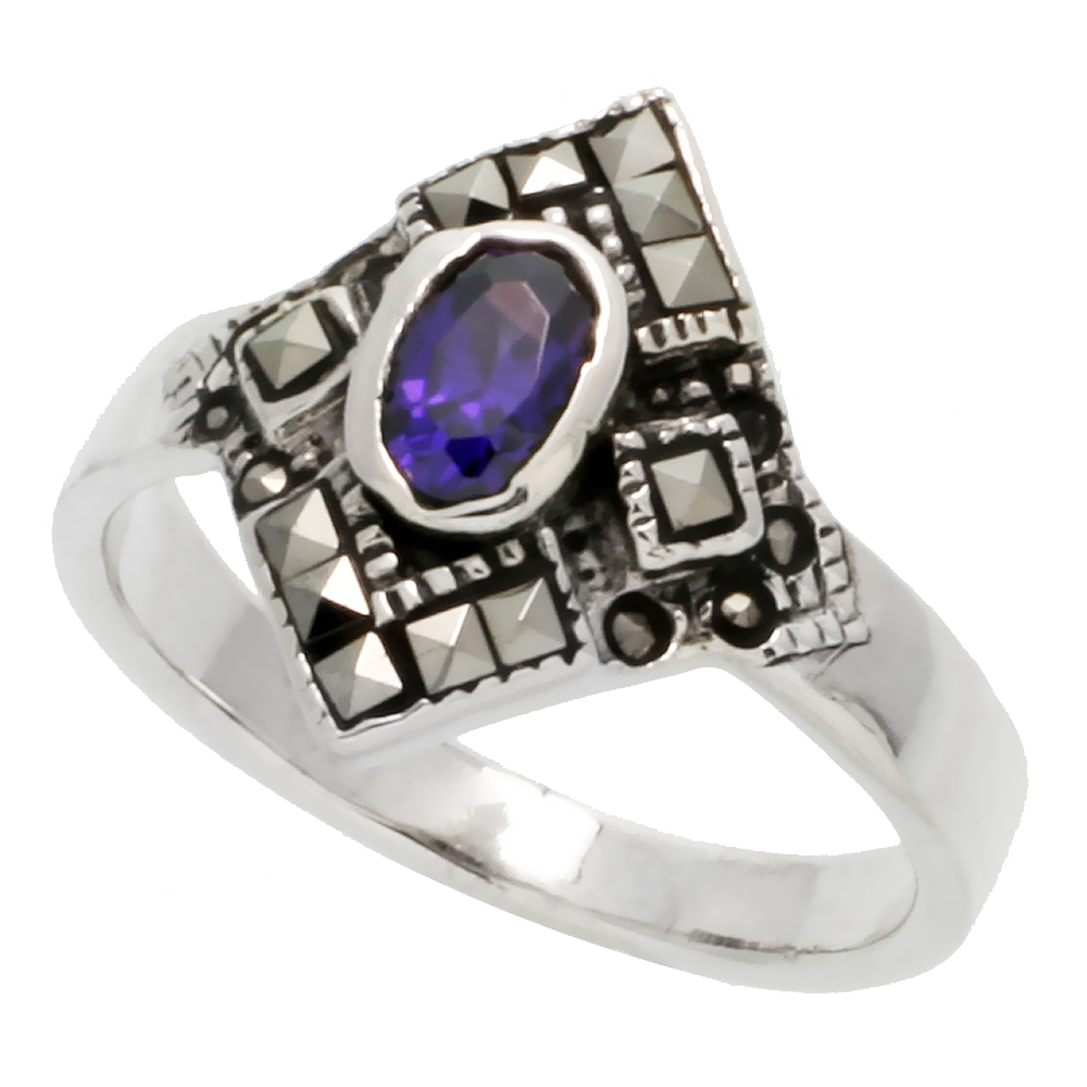"""Sabrina Silver Sterling Silver Marcasite Ring, w/ Oval Cut Amethyst CZ, 5/8"""" (16 mm) wide, size 6 at Sears.com"""