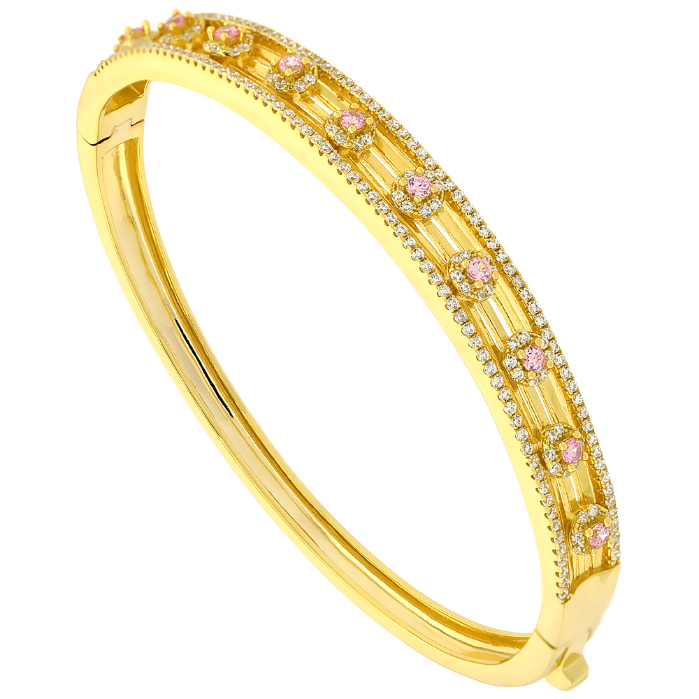 Sterling Silver Cubic Zirconia Floral Bangle Micro Pave Yellow Gold Plated, fits 6.5 inch wrists