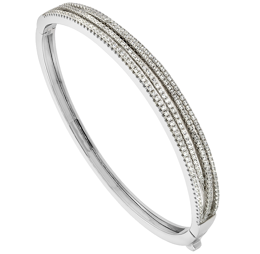 Sterling Silver Cubic Zirconia 4-Row Bangle Micro Pave High Polish, fits 6.5 inch wrists