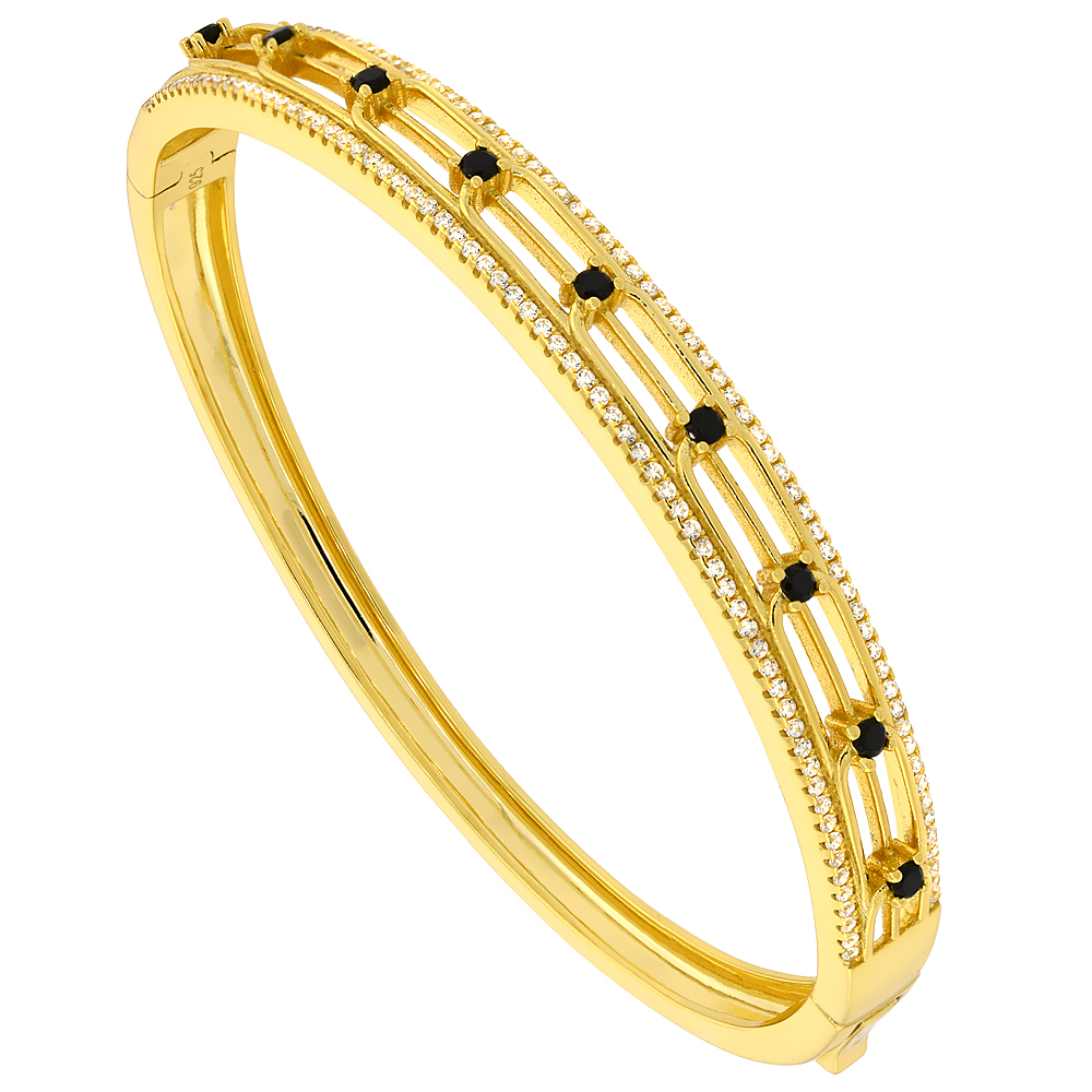 Sterling Silver Cubic Zirconia Bangle Micro Pave Yellow Gold Plated, fits 6.5 inch wrists