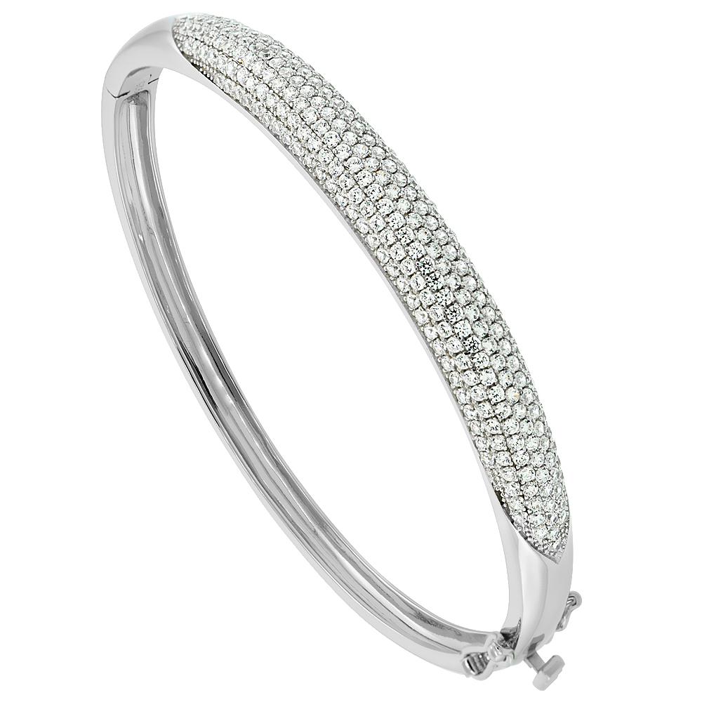 Sterling Silver Cubic Zirconia Lavish Bangle Micro Pave High Polish, fits 6.5 inch wrists