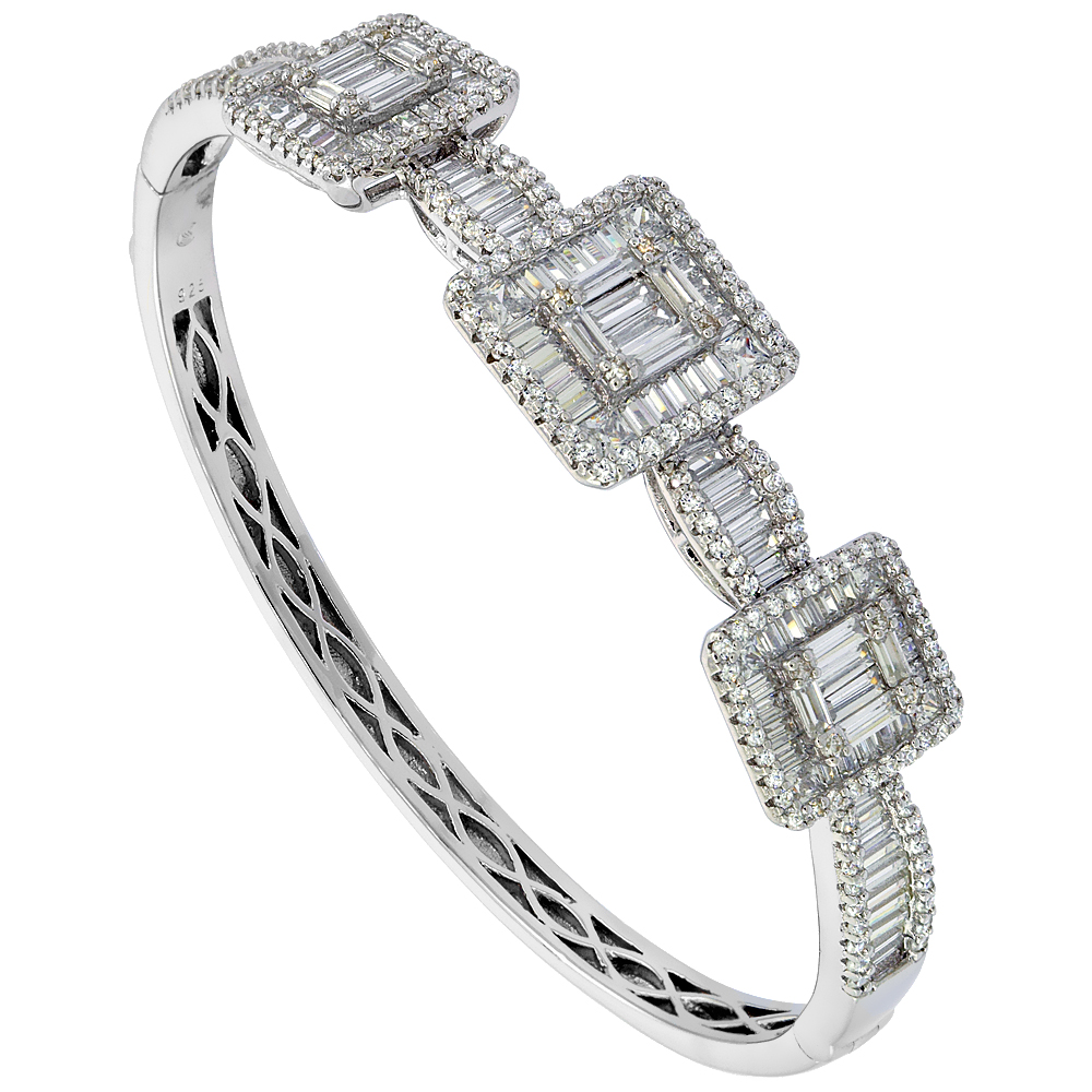 Sterling Silver Cubic Zirconia Baguette Bangle Micro Pave 5/8 inch wide, fits 7 inch wrists