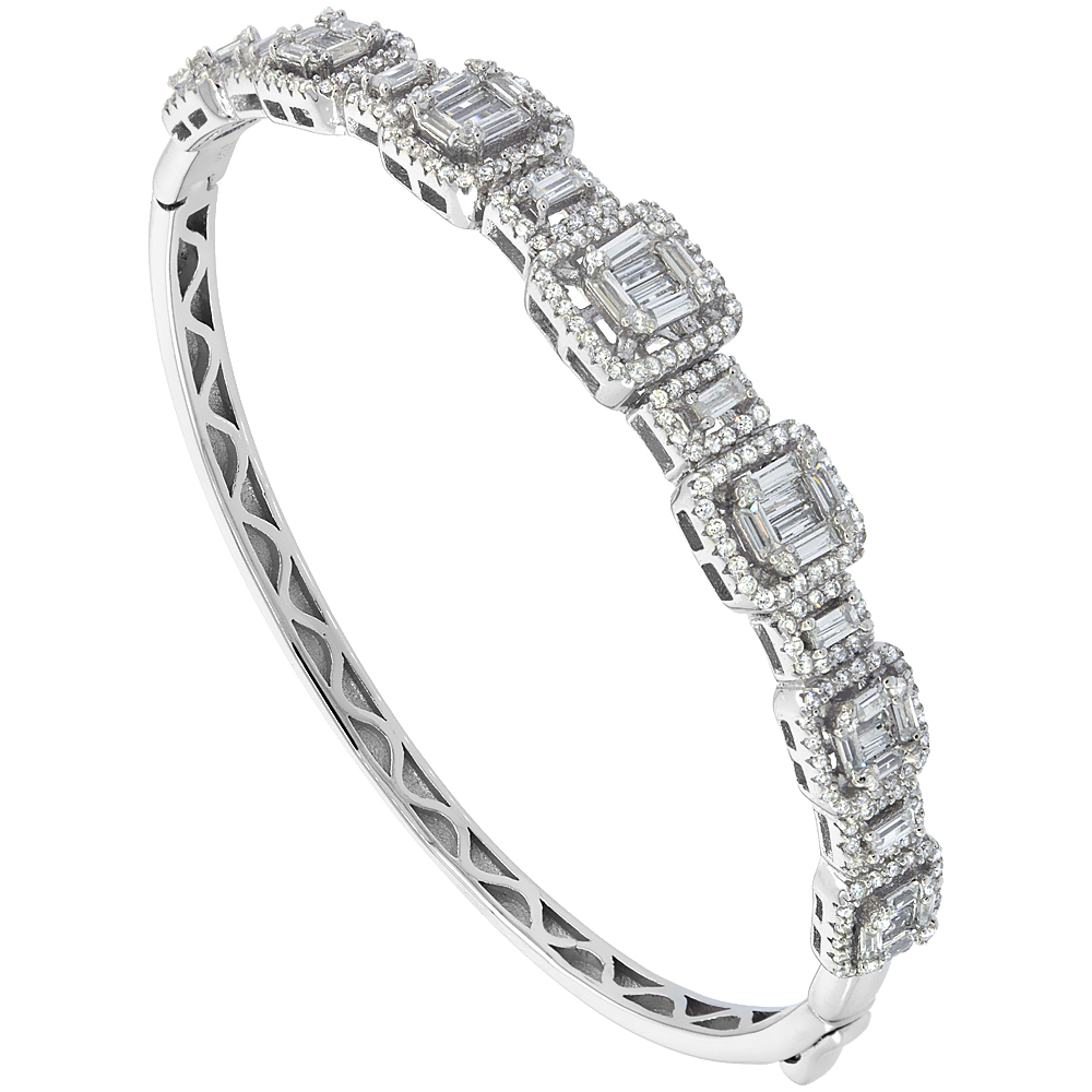Sterling Silver Cubic Zirconia Baguette Bangle Micro Pave 3/8 inch wide, fits 7 inch wrists