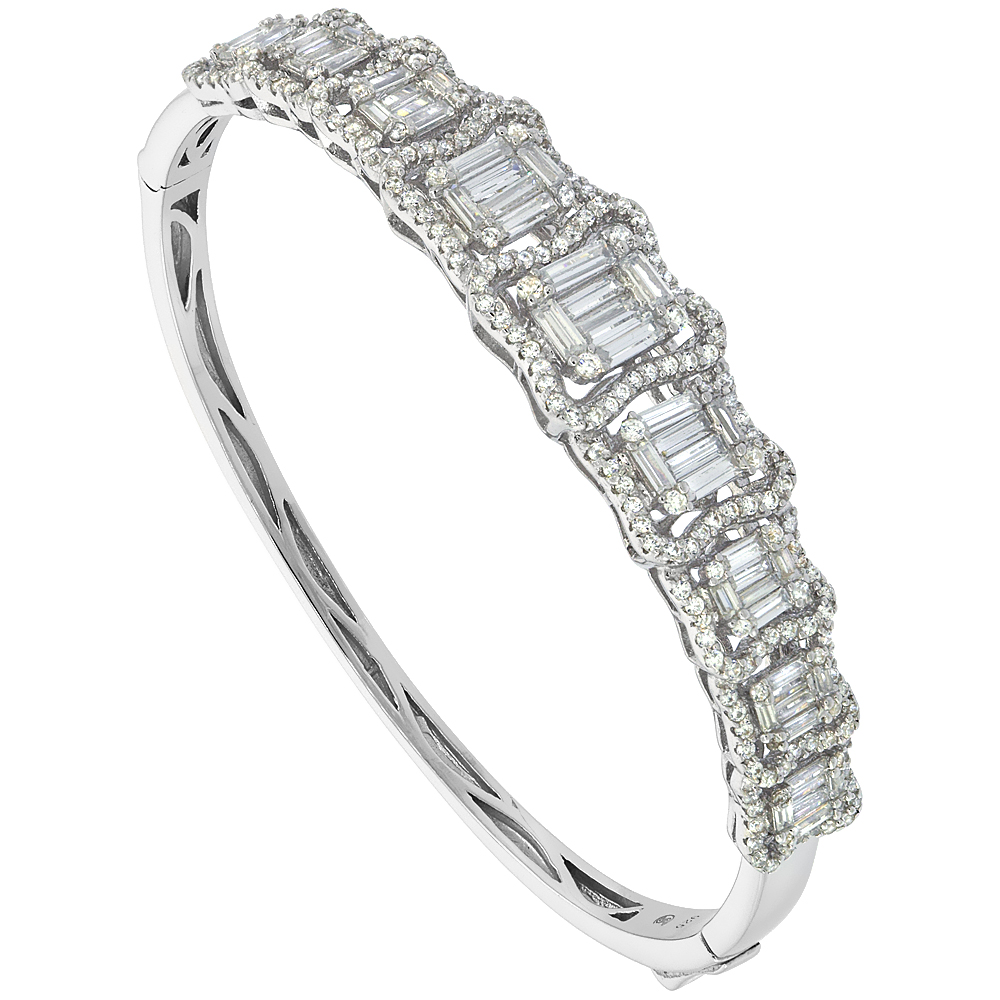 Sterling Silver Cubic Zirconia Graduating Baguette Bangle Micro Pave 7/16 inch wide, fits 7 inch wrists