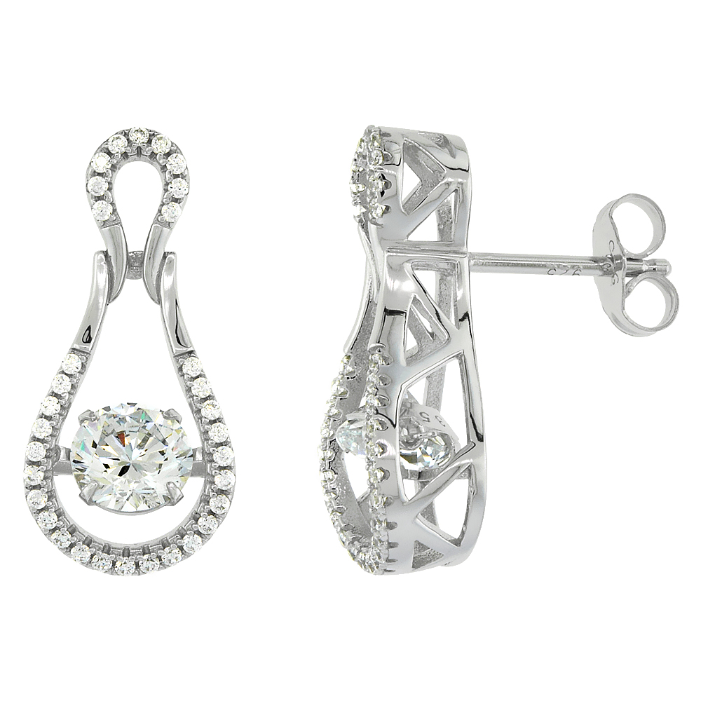 Sterling Silver Cubic Zirconia Bowling Pin Shape Dancing Drop Earrings, 3/8 inch wide