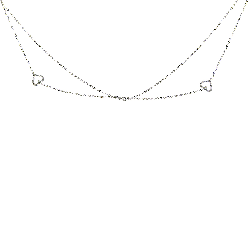 Sterling Silver Cubic Zirconia HEART Long Necklace Micro Pave, 51 inches long