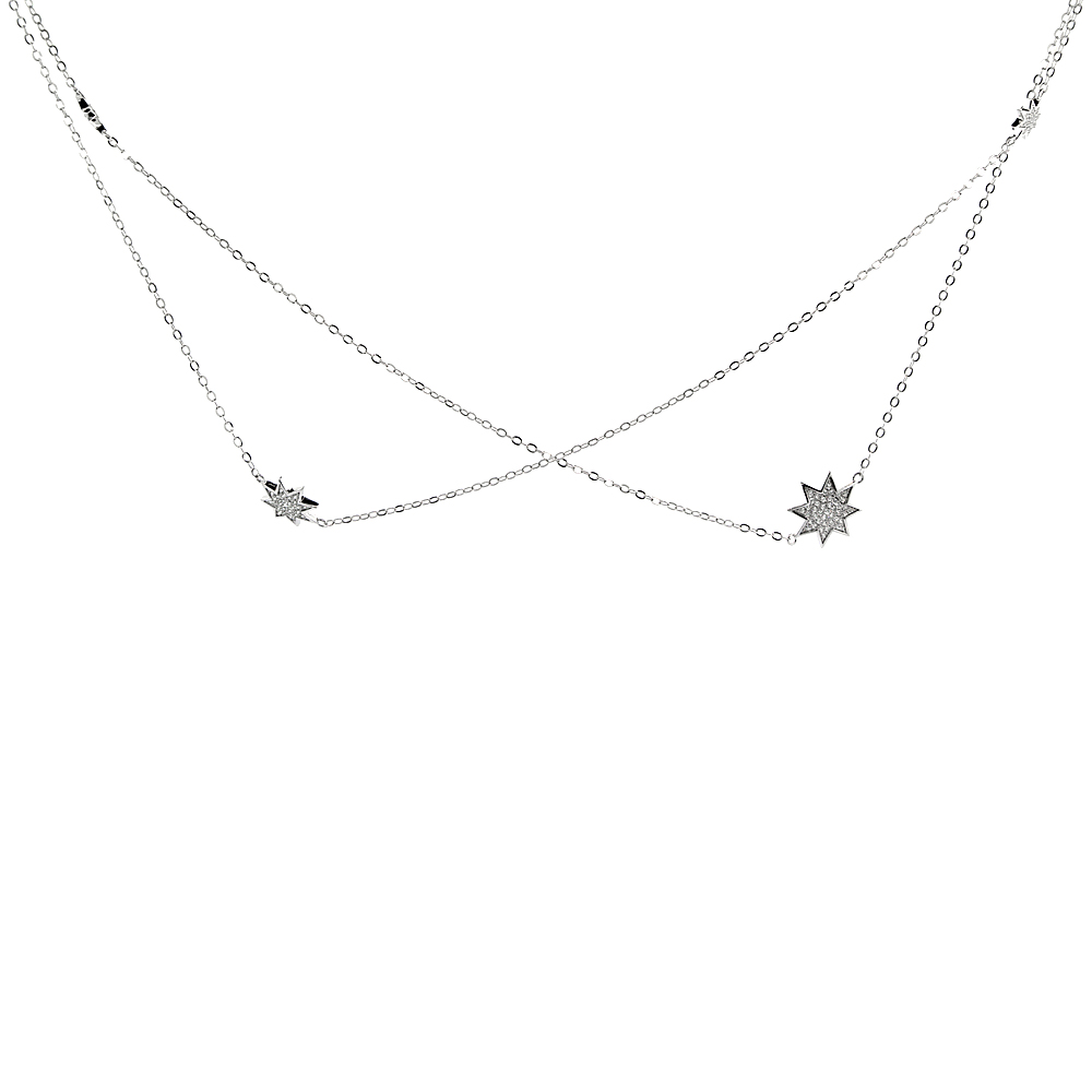 Sterling Silver Cubic Zirconia HEXADECAGON Long Necklace Micro Pave, 51 inches long