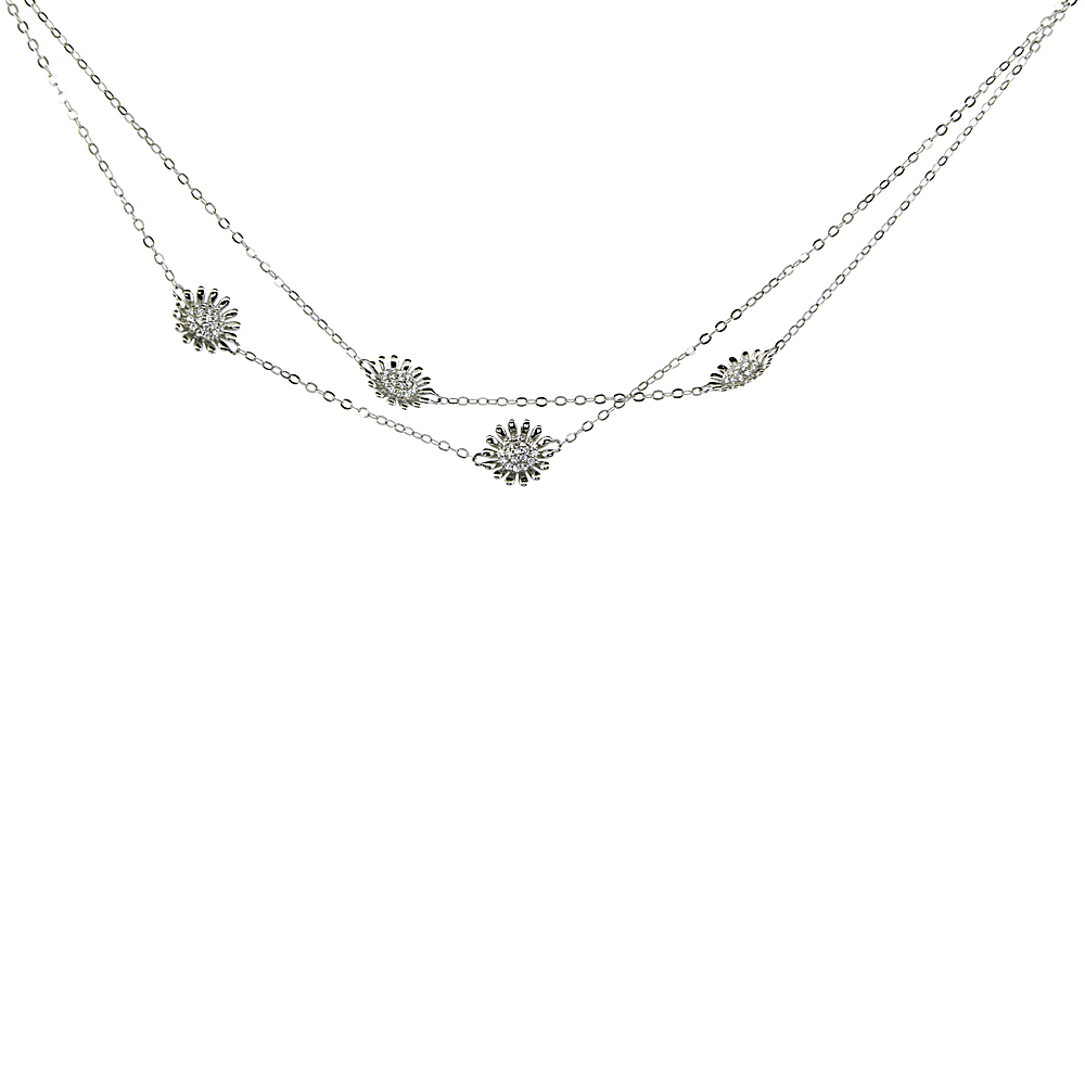 Sterling Silver Cubic Zirconia SUNFLOWER Long Necklace Micro Pave, 43 inches long