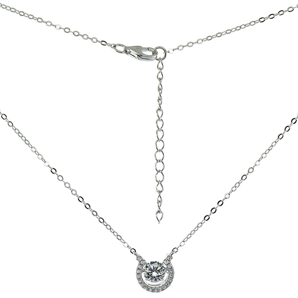 Sterling Silver Dancing Cubic Zirconia 1 ct Horseshoe Necklace Micro Pave, 16 inches long