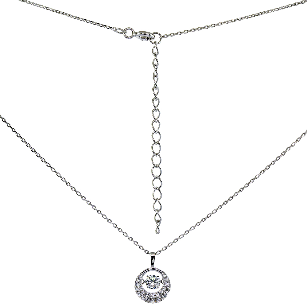 Sterling Silver Dancing Cubic Zirconia 0.25 ct Necklace Micro Pave, 16 inches long