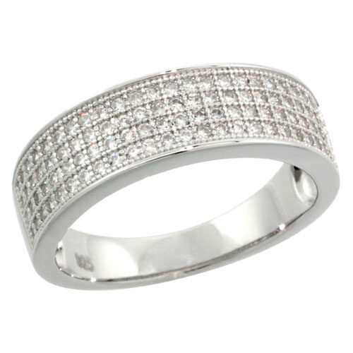 Sterling Silver Cubic Zirconia Micro Pave Wedding Band Ring, Sizes 6 to 9