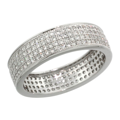 Sterling Silver Cubic Zirconia Micro Pave 4-Row Eternity Band Ring, Sizes 6 to 9