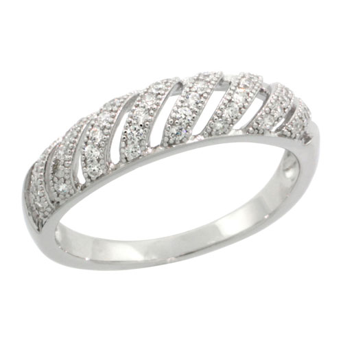 Sterling Silver Cubic Zirconia Micro Pave Domed Band Cut-out Stripes, Sizes 6 to 9