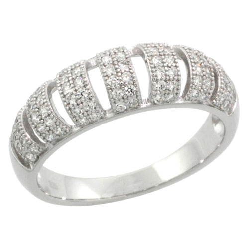 Sterling Silver Cubic Zirconia Micro Pave Domed Band Cut-out 2-Row Stripes, Sizes 6 to 9