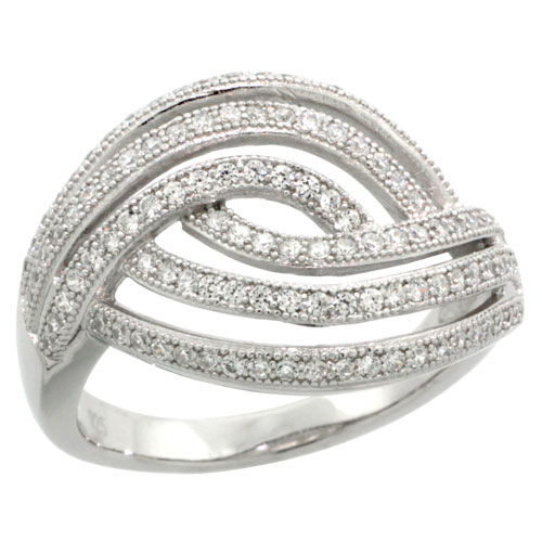 Sterling Silver Cubic Zirconia Micro Pave Braided Stripes Ring, Sizes 6 to 9