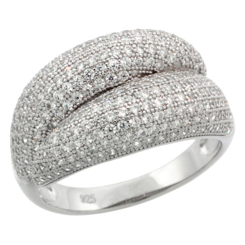 Sterling Silver Cubic Zirconia Micro Pave By Pass Band, Sizes 6 to 9
