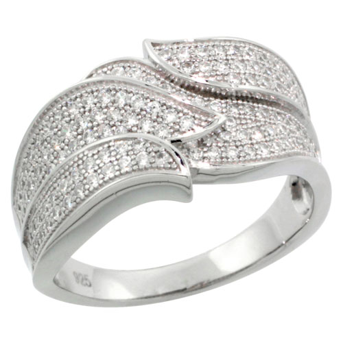 Sterling Silver Cubic Zirconia Micro Pave Double Leaf Band, Sizes 6 to 9