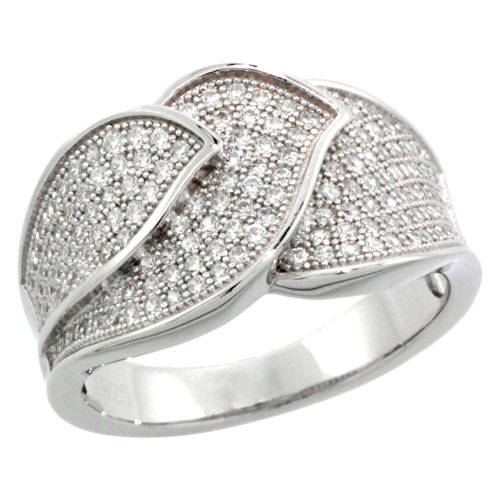 Sterling Silver Cubic Zirconia Micro Pave Three Leaf Band, Sizes 6 to 9