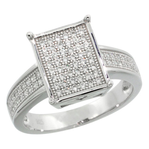 Sterling Silver Cubic Zirconia Micro Pave Rectangular Band, Sizes 6 to 9