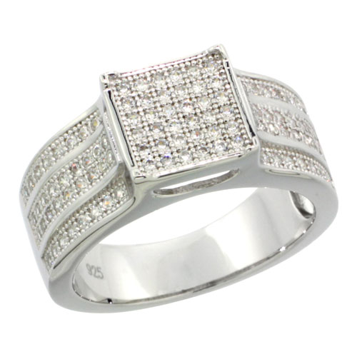 Sterling Silver Cubic Zirconia Micro Pave Square Band, Sizes 6 to 9