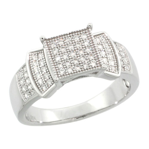 Sterling Silver Cubic Zirconia Micro Pave Bow Shape Band, Sizes 6 to 9