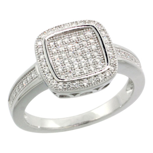 Sterling Silver Cubic Zirconia Micro Pave Square Style Band, Sizes 6 to 9