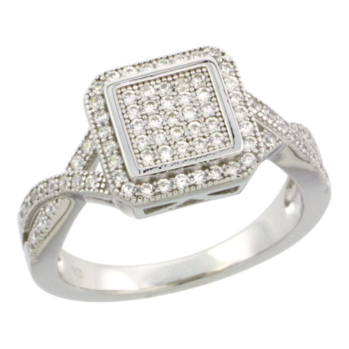 Sterling Silver Cubic Zirconia Micro Pave Square Box Shape Ring X on each side Ring, Sizes 6 to 9