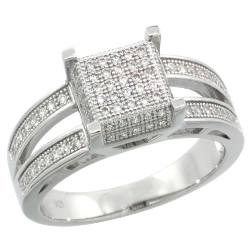 Sterling Silver Cubic Zirconia Micro Pave Square 2 Sided line Ring, Sizes 6 to 9