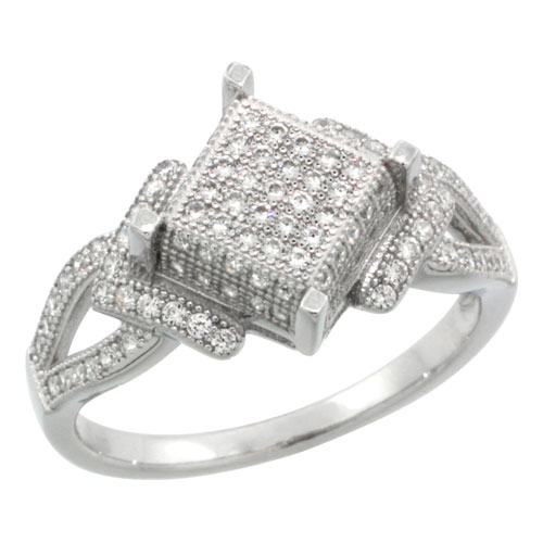Sterling Silver Cubic Zirconia Micro Pave Diamond Cut Shape Ring, Sizes 6 to 9