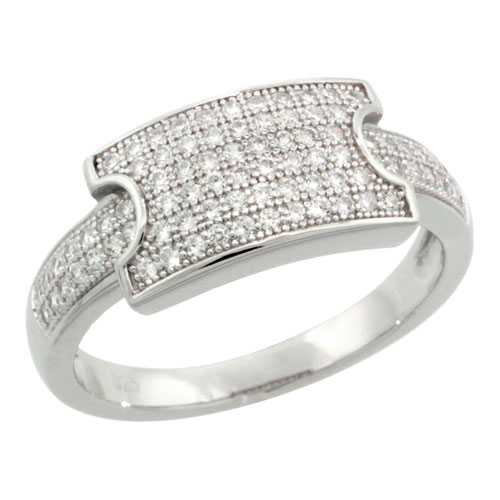 Sterling Silver Cubic Zirconia Micro Pave Buckle Ring, Sizes 6 to 9