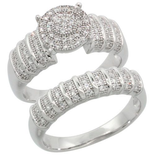 Sterling Silver Cubic Zirconia Micro Pave Bridal & Engagement Set Ring Matching Band In White Stones, Sizes 6 to 9