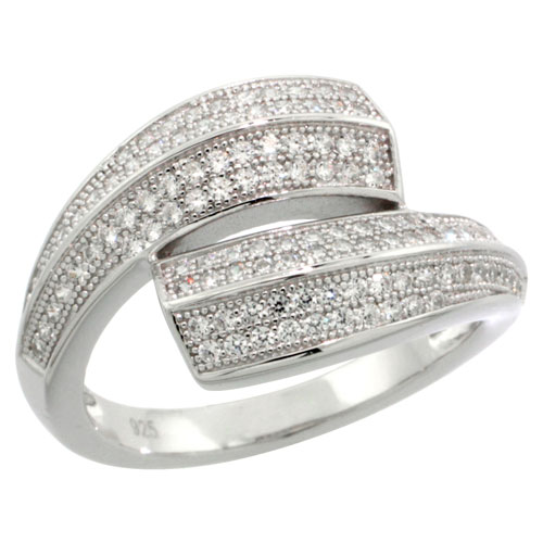 Sterling Silver Cubic Zirconia Micro Pave Wave Ring, Sizes 6 to 9