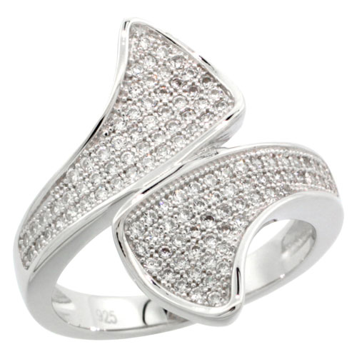 Sterling Silver Cubic Zirconia Micro Pave Flouting Ribbon Shape Ring, Sizes 6 to 9