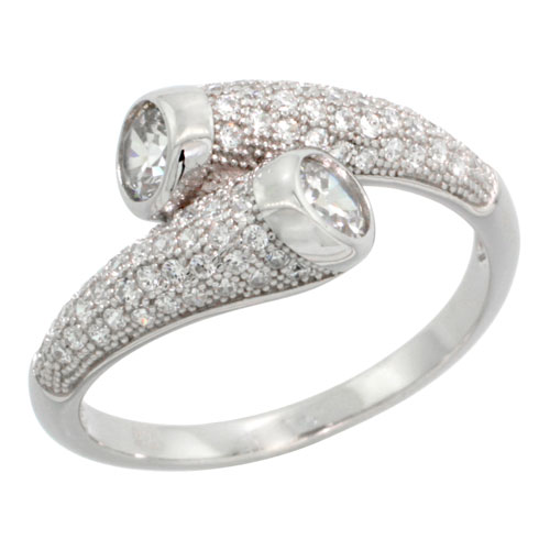 Sterling Silver Cubic Zirconia Micro Pave Tear Drop Ring, Sizes 6 to 9