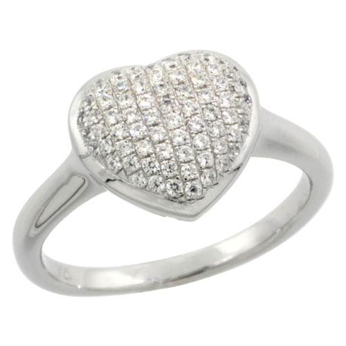 Sterling Silver Cubic Zirconia Micro Pave Heart Shape Ring, Sizes 6 to 9