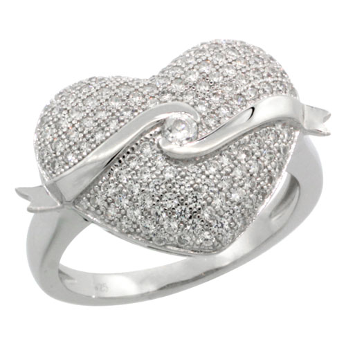 Sterling Silver Cubic Zirconia Micro Pave Floating Ribbon on a Heart Ring, Sizes 6 to 9