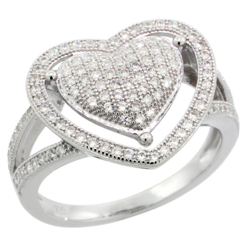 Sterling Silver Cubic Zirconia Micro Pave Two Hearts Ring, Sizes 6 to 9