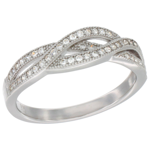 Ladies Sterling Silver Wrap Style Micro Pave CZ Ring 1/4 inch wide, sizes 6 - 9