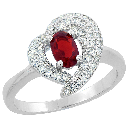 Sabrina Silver Sterling Silver Oval Garnet Heart Ring CZ Accents Rhodium Finish, 7/16 inch wide, sizes 6 - 9 at Sears.com