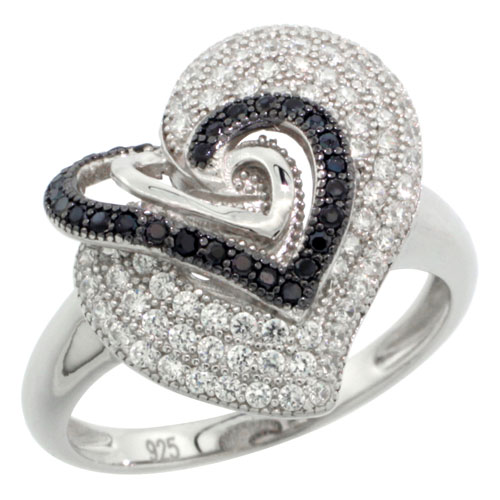 Sabrina Silver Sterling Silver Ladies Micro Pave Three In One Heart Ring w/ Black & White Stones, Sizes 6 to 9 at Sears.com