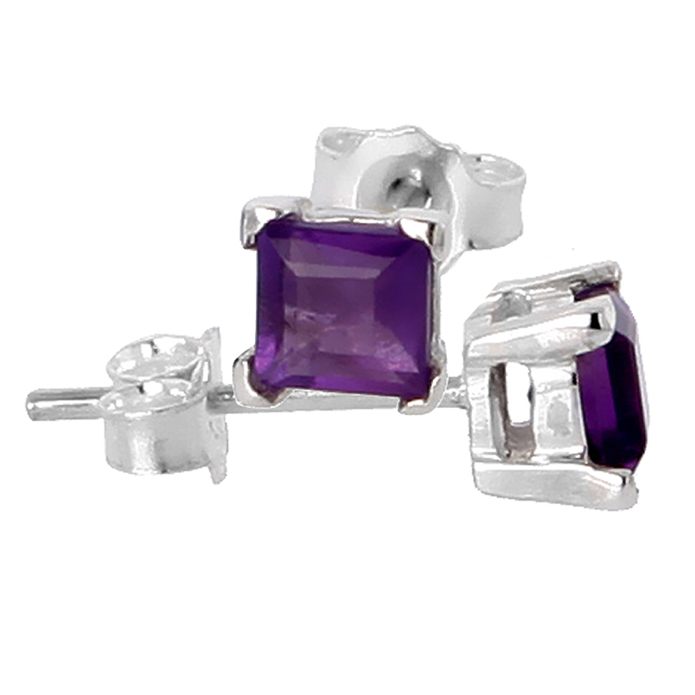 February Birthstone, Natural Amethyst 0.40 Carat (4 mm) Size Princess Cut Square Stud Earrings in Sterling Silver Basket Setting