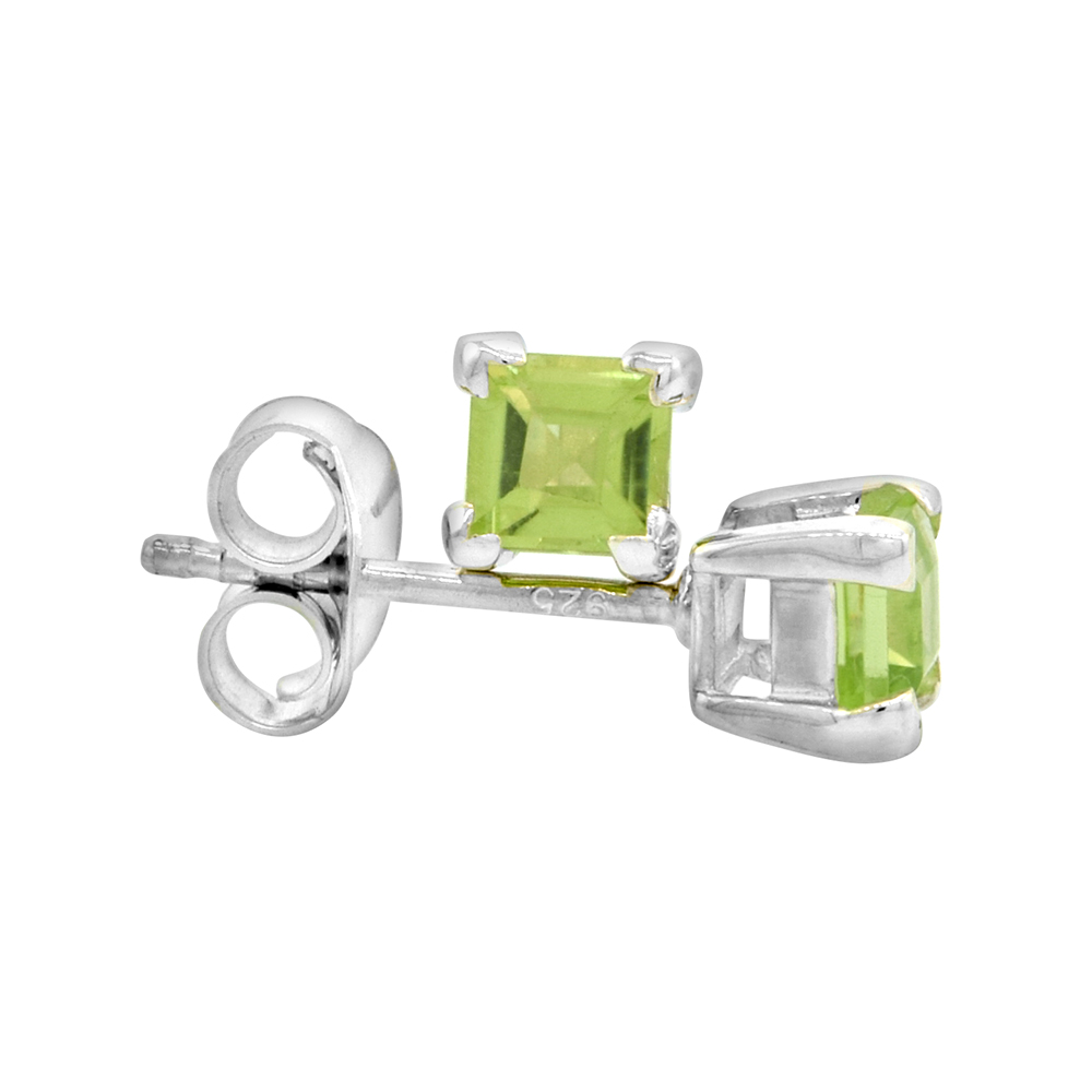 August Birthstone, Natural Peridot 0.40 Carat (4 mm) Size Princess Cut Square Stud Earrings in Sterling Silver Basket Setting