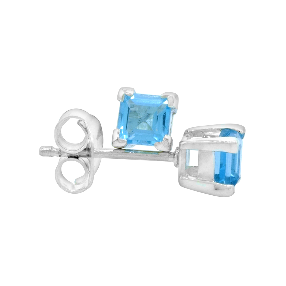 December Birthstone, Natural Blue Topaz 0.40 Carat (4 mm) Size Princess Cut Square Stud Earrings in Sterling Silver Basket Setting