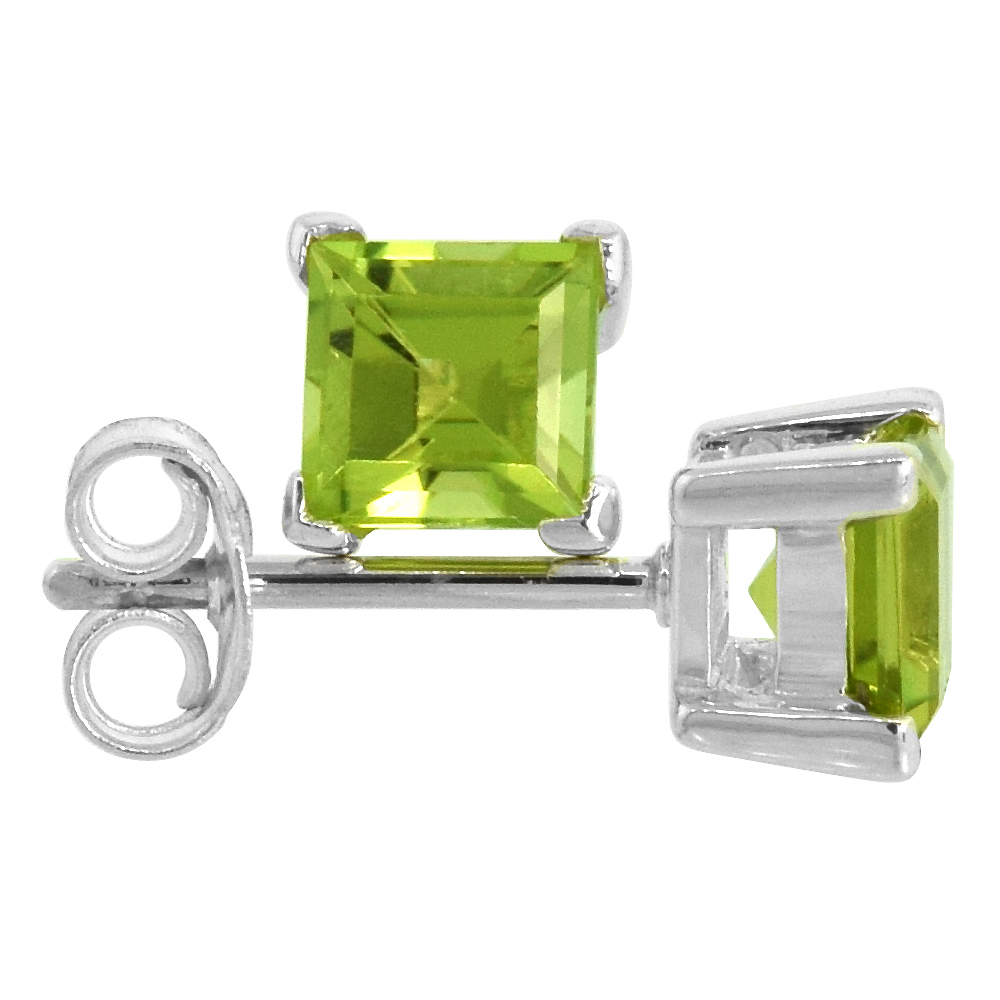 August Birthstone, Natural Peridot 3/4 Carat (5 mm) Size Princess Cut Square Stud Earrings in Sterling Silver Basket Setting