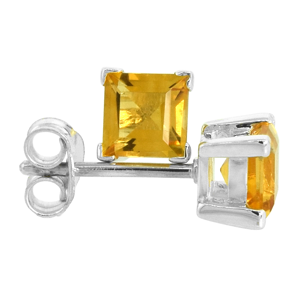Sterling Silver Natural Citrine Stud Earrings 5mm Princess Square Cut Basket Setting